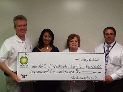 ARC of Washington County with donation check